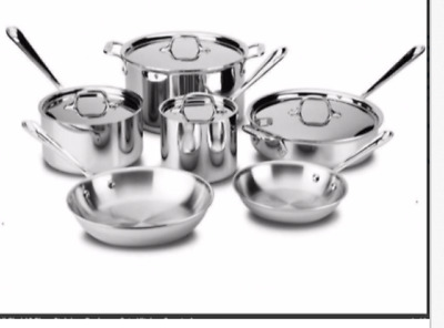 All Clad D3 Stainless Steel Cookware Set - 10 Piece, MODEL 401488-R BRAND NEW!