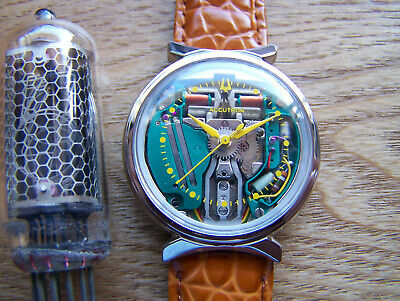 Accutron 214 Steel Bow Tie '64 SPACEVIEW Yellow Dot Tuning Fork rebuilt Great