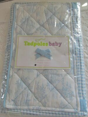 Cottage Chic! ~ New! TADPOLES BABY Blue Bunny Toile & Gingham Diaper Stacker