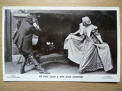 1908 Theatre Postcard:Fred Terry & Alice Crawford (+Stamp)