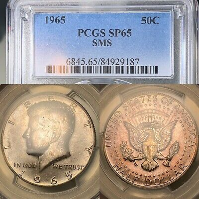 1965 KENNEDY HALF DOLLAR 50 CENTS PCGS SP65 (SPECIAL STRIKE) SMS   Toned Silver