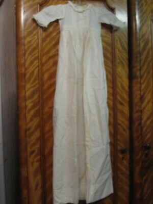 Antique Edwardian Cotton & Lace Baby Christening Baptismal Dress