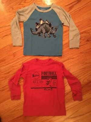 Baby Gap Boys 5 5T Blue Dino Shirt And Old Navy Red Football- Long Sleeve