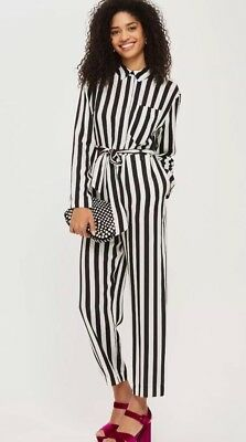 2d651e7672f EX TOPSHOP Black   White Humbug Striped Boiler Jumpsuit UK 4-10 RRP ...