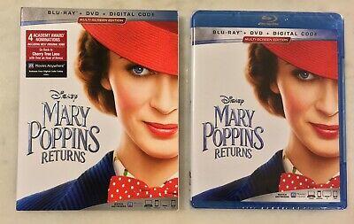 MARY POPPINS RETURNS (Blu-ray/DVD/Digital, 2019) Slipcover; NEW SEALED COMPLETE