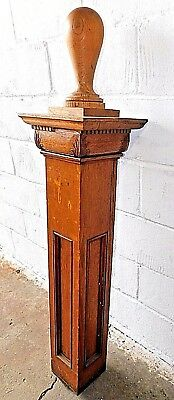 1800's Wooden Stair NEWEL POST Stairway Finial VICTORIAN Quarter Sawn Oak ORNATE