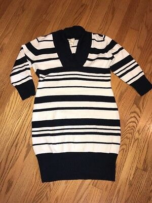 PINK ROSE Navy Blue White Striped Cowl Neck Sailor Womens Sweater Dress Sz L #