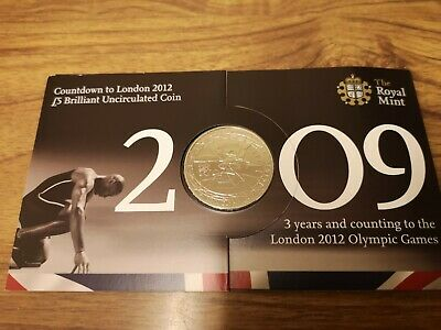 2009 London 2012 Olympic UK five pound £5 coin : Royal Mint BU Pack