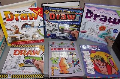 Lot of 6 Learn How to Draw Books- Cars Animals Fairies Princesses Fashion Pirate
