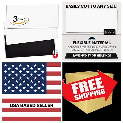 """5.5"""" x 12""""- 3-Pack White Double Thick Premium Magnet Magnetic Floor Vent Covers"""