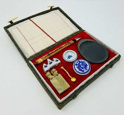 20th Century Traditional Chinese Calligraphy Set - Basin Brushes Paper Stones
