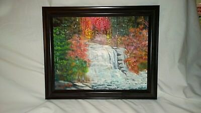 "Fine art Acrylic ""Black water falls"" Terry Lash Original signed 11X14 framed"
