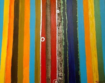 "Fine art Acrylic,abstract ""lines"",Original signed,TerryLash 16X20"