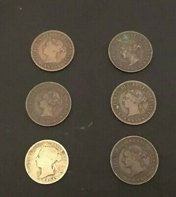 Canada Large Cent Lot of 5 and 1901 Silver Quarter