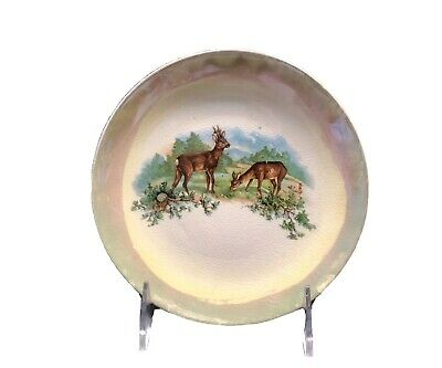 Antique Dresden China Hand Painted Porcelain Stag and Doe Iridescent Rim Scarce