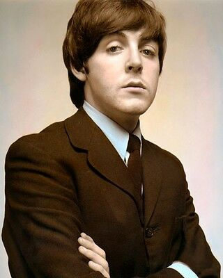 "PAUL McCARTNEY SINGER SONG WRITER THE BEATLES 8x10"" HAND COLOR TINTED PHOTOGRAPH"