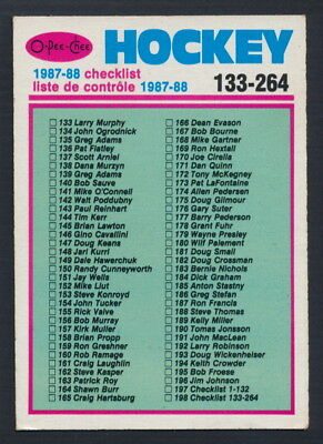 1987-88 O-Pee-Chee #198 Checklist 133-264  Unmarked