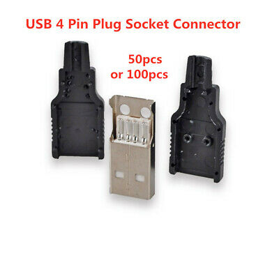 Type A Male USB 4 Pin Plug Socket Connector With Black CoverRe Plastic R4H6