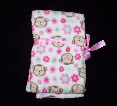 """NEW Baby Gear Monkey Pink Blue Flowers Floral Blanket Girl 30 x 40"""" Security"""