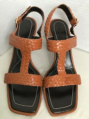 6ffe3f61f ESCADA ITALY BROWN Leather Wedge Heel Ankle Boots Womens Size 9.5 US ...