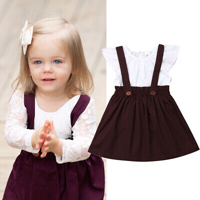 2403e0a8a1b Adorable Toddler Kids Baby Girl Ruffle Tops Suspender Skirt Dress Outfit  Clothes