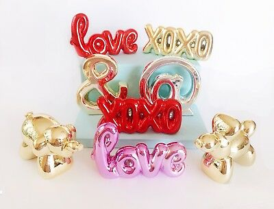 Ceramic LOVE, XOXO,POODLE Table-Top Wedding Decor/Centerpiece GOLD Letters words