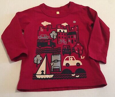 Tea Collection Boy's Size 18-24 Month Red Long Sleeve Car Bus Boat Graphic Top