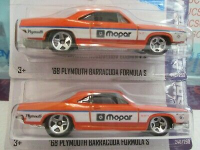 Hot Wheels '68 Plymouth Barracuda Formula S Set Of 2 Cars  Mint In Blister