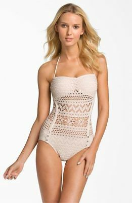 8915deb9c5 Robin Piccone Penelope Lace Crochet overlay one piece swimsuit white medium  VS
