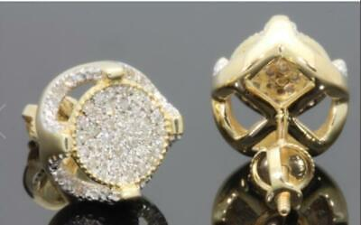 Mens Woman Gold Plated Two Tone ICED OUT Cz Micropave Earring Stud Round Hip Hop