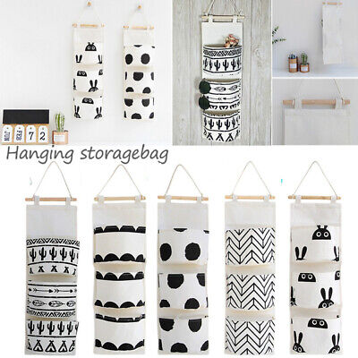 3-pocket  Nordic style Hanging Bag Wall Cotton Linen Cloth Hanging Storage Bag