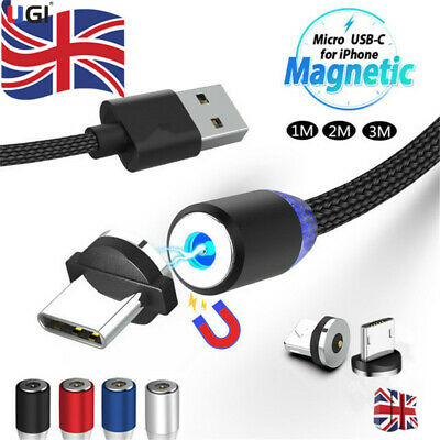 UK 1~3M 360° Round Magnetic Charger Adapter IOS/Micro/Type-C Fast Charging Cable