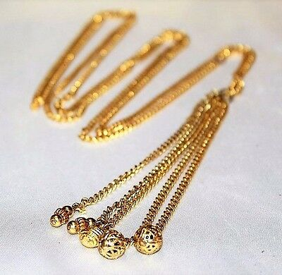 Vintage Exceptional French Designer Couture Filigree Long Chain Necklace NC2