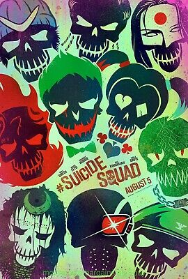 SUICIDE SQUAD MOVIE POSTER DS N.MINT Original 27x40 Skulls Advance WILL SMITH