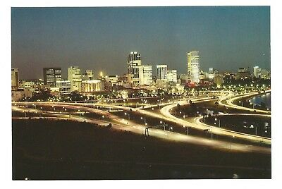 WA - c1980s POSTCARD - VIEW OF THE CITY OF PERTH BY NIGHT, WESTERN AUSTRALIA