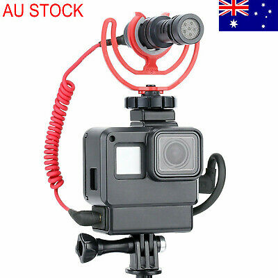AU Housing Case for GoPro Hero 7 6 5 Camera Microphone Adapter GPS Locator Light