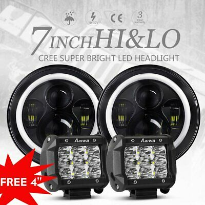 Pair 7 inch CREE Round LED Headlights For Jeep Wrangler TJ JK Angel Eyes+4'' Pod