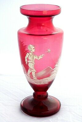 Antique Set of MARY GREGORY ART VICTORIAN GLASS CRANBERRY Vase 27x10cm