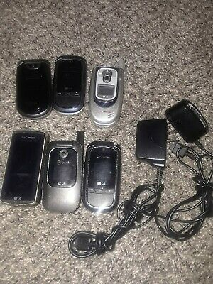 Group Lot of 6 LG Cellphones w/2 Chargers Flip Phone For Parts Untested
