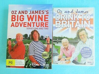 Oz And James Big Wine Adventure Series 1 & 2 & Drink To Britain Dvd May Clarke