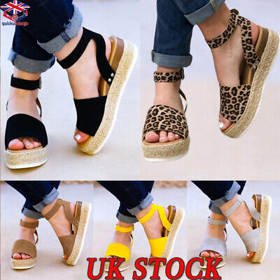 UK Womens Ladies Flatform Cork Espadrille Sandals Wedge Ankle Summer Shoes Size