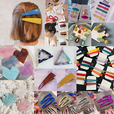 Fashion Women Colorful Crystal Hair Clips Barrette Snap Hairpin Hair Accessories