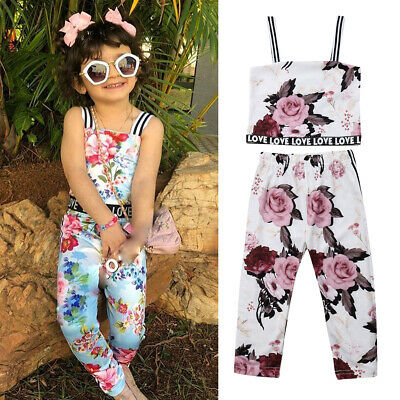 Newborn Kids Baby Girls Floral Tube Vest Tops Pants 2Pcs Outfits Clothes Summer