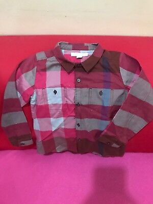 Authentic Burberry Boy's Polo T-shirt Red maroon Bold Check Placket Kids 3 Years