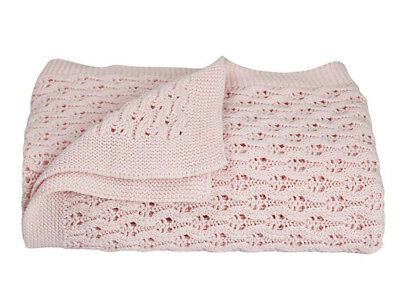 Living Textiles 100% Cotton Lattice Baby Shawl - Gift Boxed - Pink - FREE DEL