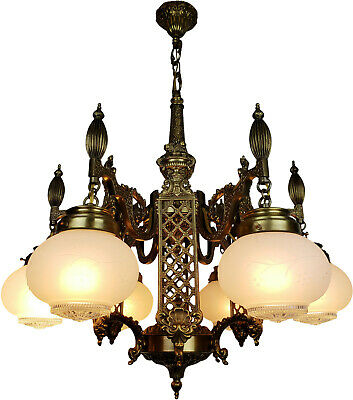 Vintage Neoclassical Revival Brass Chandelier Lighting Fixture Antique Period