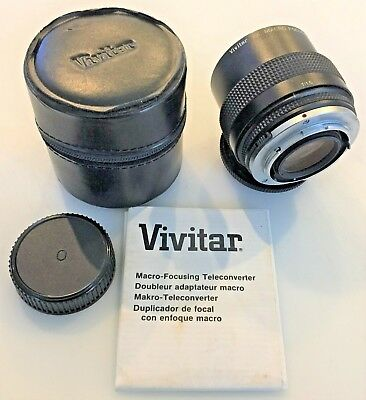 Vivitar 2X Macro Focusing Teleconverter Mc For Olympus O/Om With Case & Manual