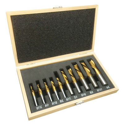 Set Of 10 PC 2 Flute HSS End Mill Set Tin Coated Single End Shank Mills