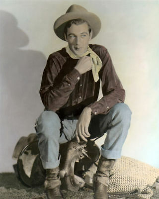 "GARY COOPER THE TEXAN 1930 HOLLYWOOD ACTOR 8x10"" HAND COLOR TINTED PHOTOGRAPH"