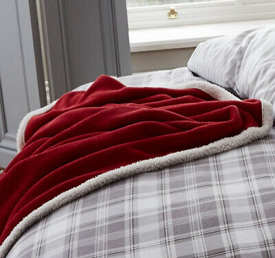 Catherine Lansfield Home Sherpa Throw 130 x 170cm Red
